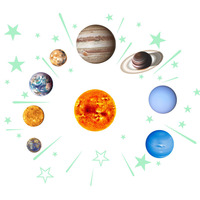 Decorative Kids Bright Nine Planets PVC Wall Sticker Bedroom DIY Glow In The Dark Star Gift Ceiling Living Room Solar System