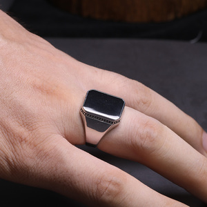 Image 3 - Real Solid 925 Sterling Silver Ring Simple For Men With Black Square Flat Gel Stone High Polishing Middle East Turkish Jewelry