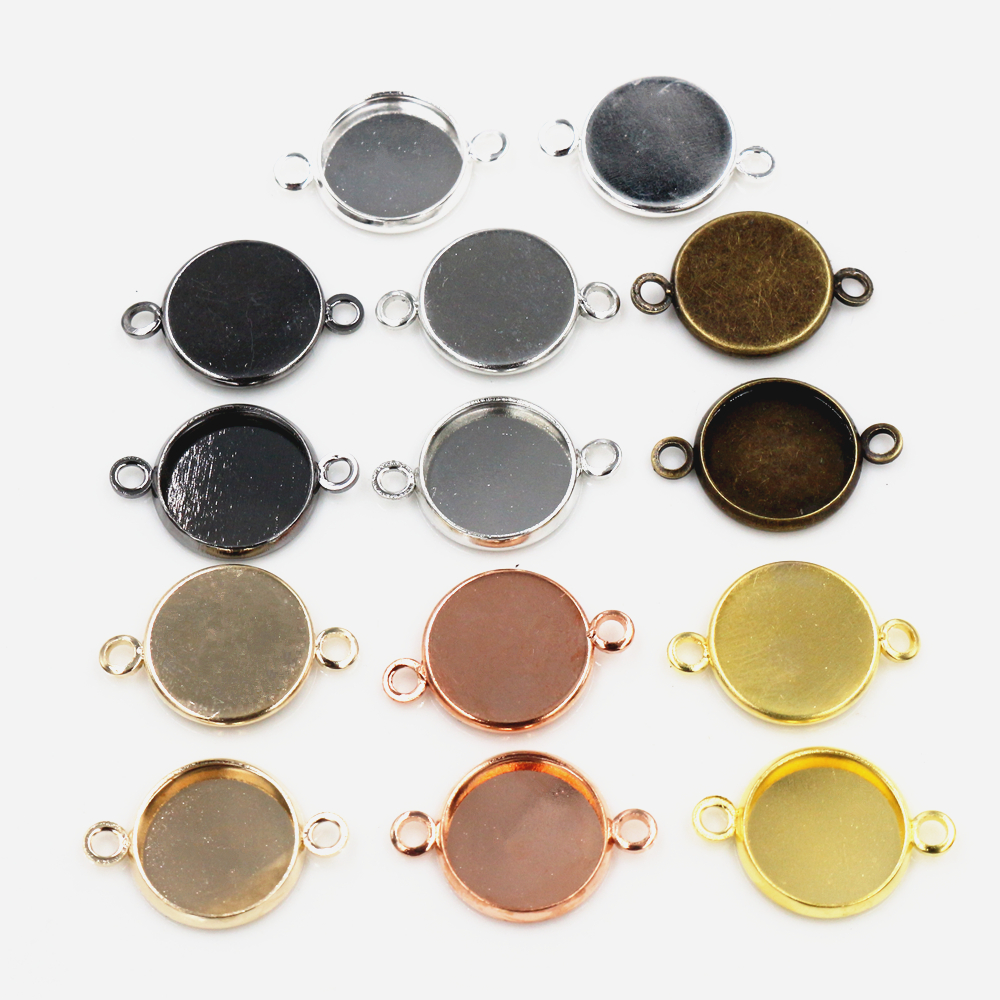 50pcs/lot 12mm Inner Size 7 Colors Plated High Quality Iron Material Fit 12mm Cabochons Pendant Tray