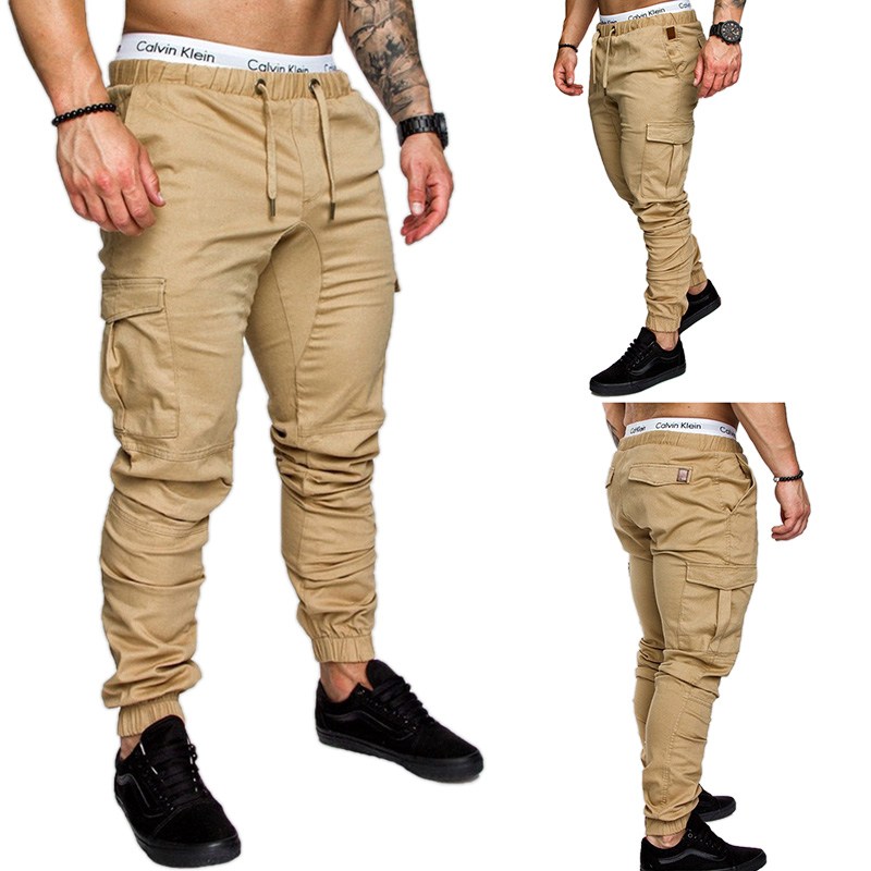 Mens Pants 2019 New Fashionable Overalls Trousers Casual Pockets Solid Color Sweatpants Hip-hop Joggers Mens Pamts