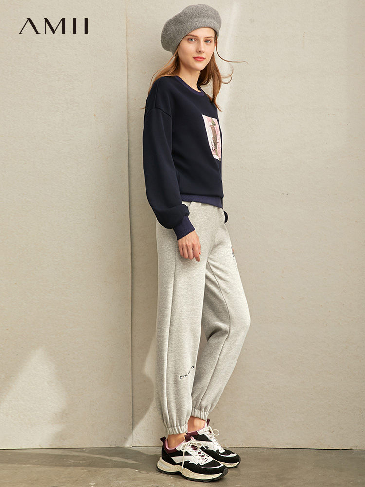 Amii Minimalist Letter Print Pant Autumn Women Casual Loose High Waist Solid Fashion Female Sport Pant  11960099