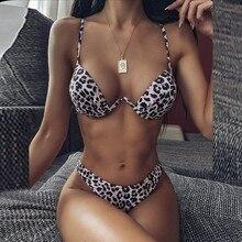 Women's Bikini Leopard Set Swimsuit Two Piece Filled Bra Swimwear Beachwear