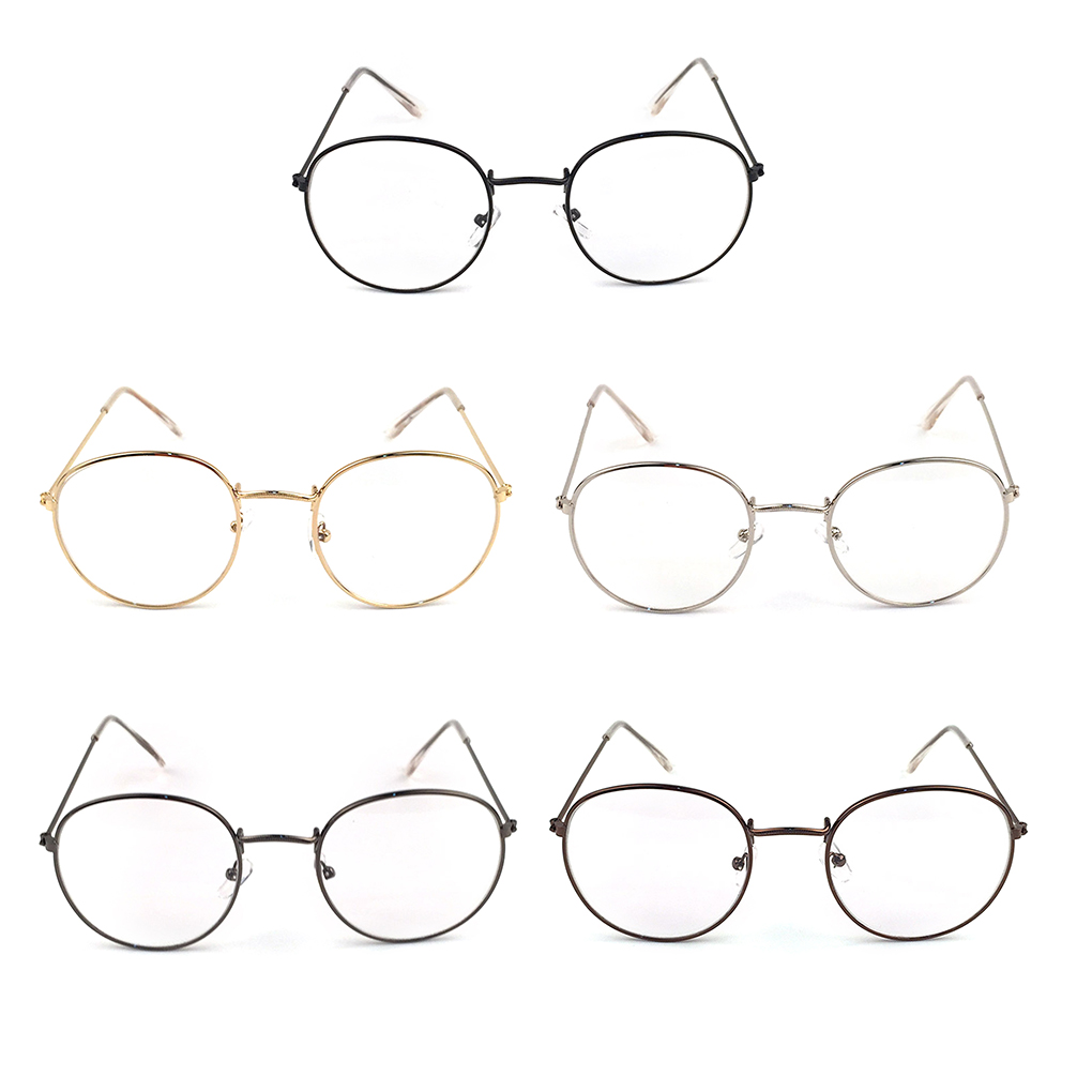 2019 Metal Printing Round Large Frame Glasses Unisex Decorative Spectacles Lightweight Clear Lens Retro Eyewear For Men Women