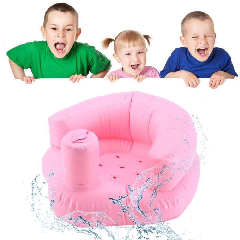Hot! Baby Seat Chair Inflatable Sofa Dining Pushchair PVC Pink Green Bath Seats Infant Portable Play Game Mat Sofas Learn Stool