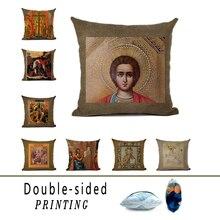 купить Double-sided Printed Sofa Cushion Cover Christian Jesus Pattern Linen Pillow Case Home Interior Vintage Decoration дешево