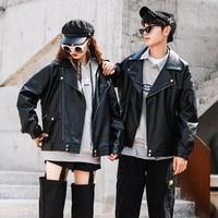 Autumn new Hong Kong style couple loose leather jacket motorcycle short leather jacket