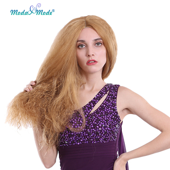 "Moda&Mode  Kinky Curly Synthetic Wig 26"" Long Blonde Wig Sythetic Lace front Wig for white/black women Heat Resistant"