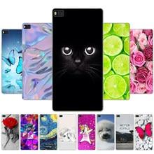 Para p8 lite caso bonito dos desenhos animados capa para fundas huawei p8 lite caso 2015 2016 silicone macio coque para huawei p8 lite gato flor