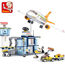 цена на Sluban 678Pcs Aviation Series International Airport minifigures Building Blocks Bricks baby toys airplane toy lepin compatible