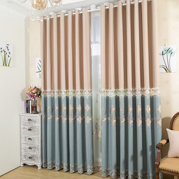 Korean Cotton and Linen Embroidery Semi-shading Curtains for Living Dining Room Bedroom.