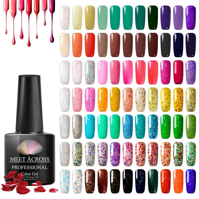 MEET ACROSS 7ml UV Gel Nail Polish For Manicure Colorful Nail Varnish Hybrid Semi Permanent Gel Lacquer Nail Art Design Tools