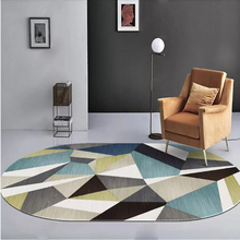 Alfombra geométrica abstracta moderna Vintage Oval impresa antideslizante absorción de agua poliéster pie Mat hogar dormitorio decoración suministros