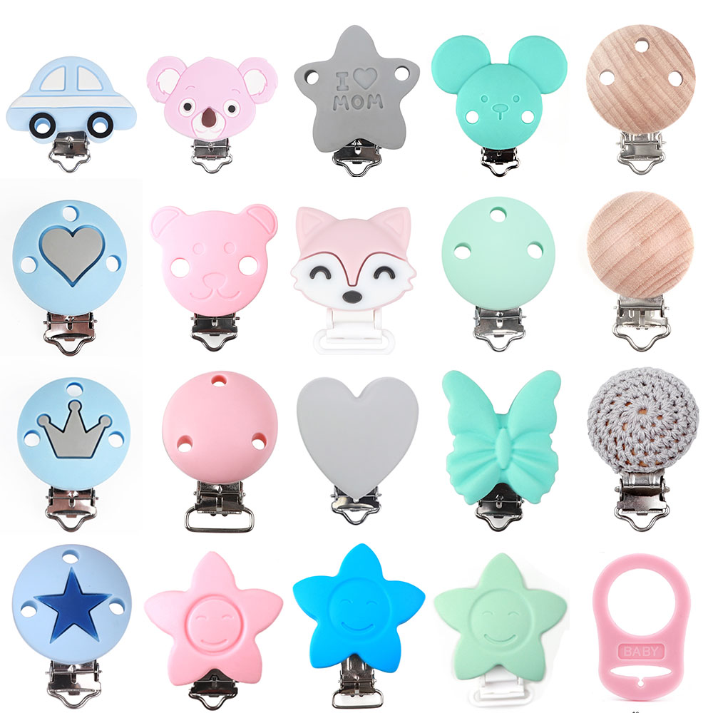 10pc Silicone Teether Clips Round Bear Star Crown Fox Koala DIY Baby Teething Toy Bead Tool Pacifier Dummy Chain Nipple Clasps