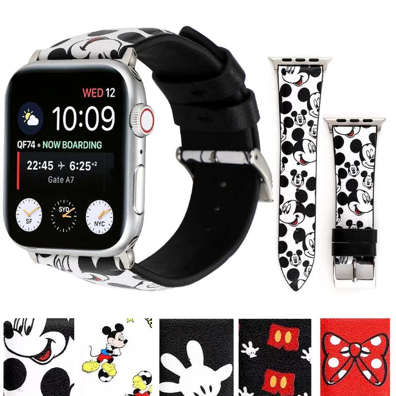 New Leather Disney Band For Apple Watch  Series 5 4 3 2 1 Strap Bracelet For IWatch 38MM 40MM 42MM 44MM Watchband Accessories