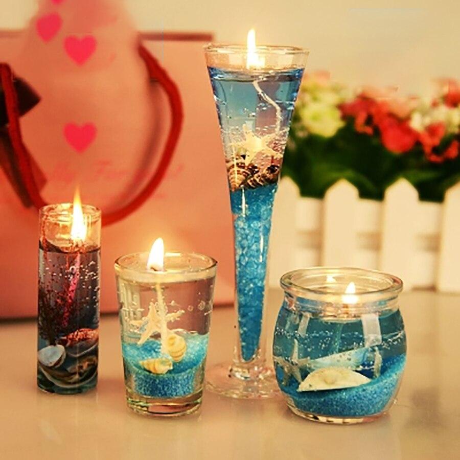 4 pièces romantique océan gelée créative faux bougies cire bois mèche anniversaire licorne bougies aromathérapie bougies décoratives C70038
