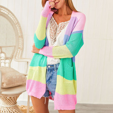 Autumn Sweater Women Long Sleeve Patchwork Knitted Open Front Rainbow Striped Cardigan Women Coat pearl beading open front sweater coat