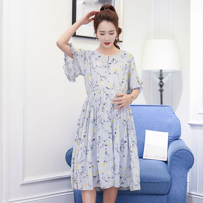 Photo Shoot Maternity Clothes Summer Wear Floral-Print Chiffon Pregnant Women Dress Korean-style Mid-length Maternity Dress