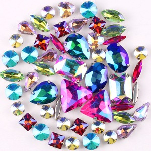 Image 4 - Silver claw settings 50pcs/bag shapes mix  jelly candy colors mix glass crystal sew on rhinestone wedding dress shoes bags diy