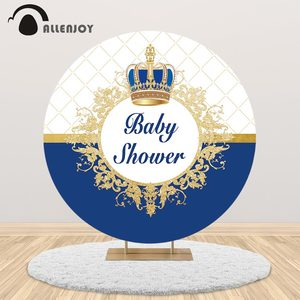 Allenjoy prince baby shower backdrop round cover Crown Royal blue boy birthday party customize banner background photocall