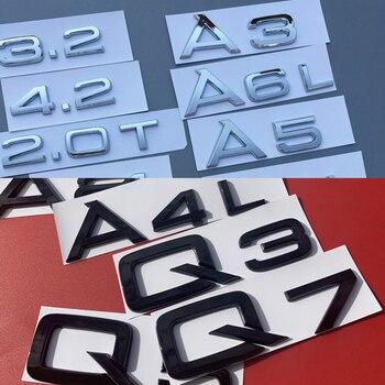 Gloss Black 3.0T Lettering Numbers Letters Rear Boot Lid Trunk Badge Emblem Compatible For A1 A2 A3 A4 A5 A6 A7 A8 Q1 Q2 Q3 Q5 Q7 Q8 TT RS TDI