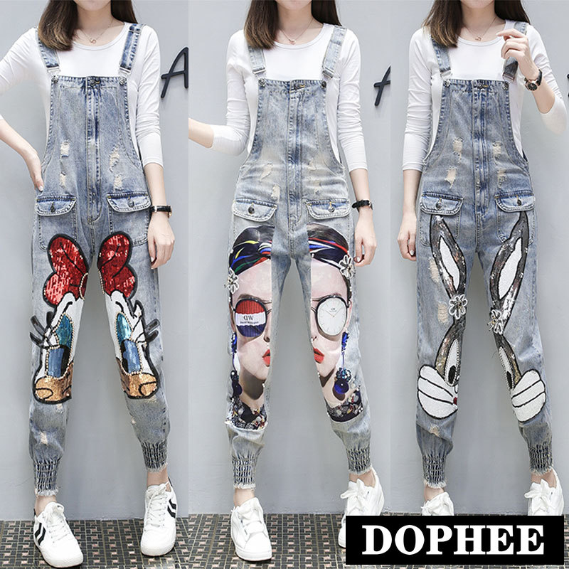 Women Cartoon Cat Print Denim Jumpsuits Rompers Overalls New Hole Ripped Loose Beaded Jeans Pants Female Casual Long Pants Hot Offer 0ee7 Cicig