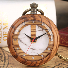 Special Marbling Pattern Dial Watches for Women Detachable Alloy Rough Chain Pendant Casual Wooden Quartz Pocket Watch Lady