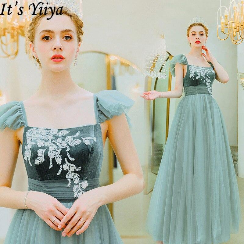 It's Yiiya Evening Dress 2019 Elegant Embroidery Long Formal Dresses Ruffles Off Shoulder Square Collar Robe De Soiree E913