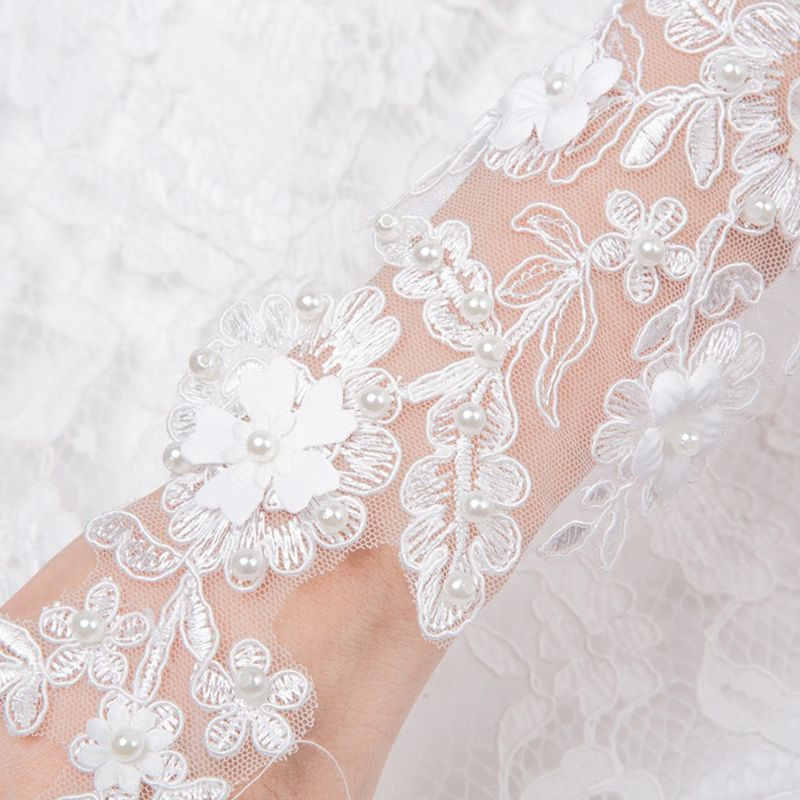 Bride Fingerless  Gloves Embroidery Floral Lace Faux Pearl Long Mittens