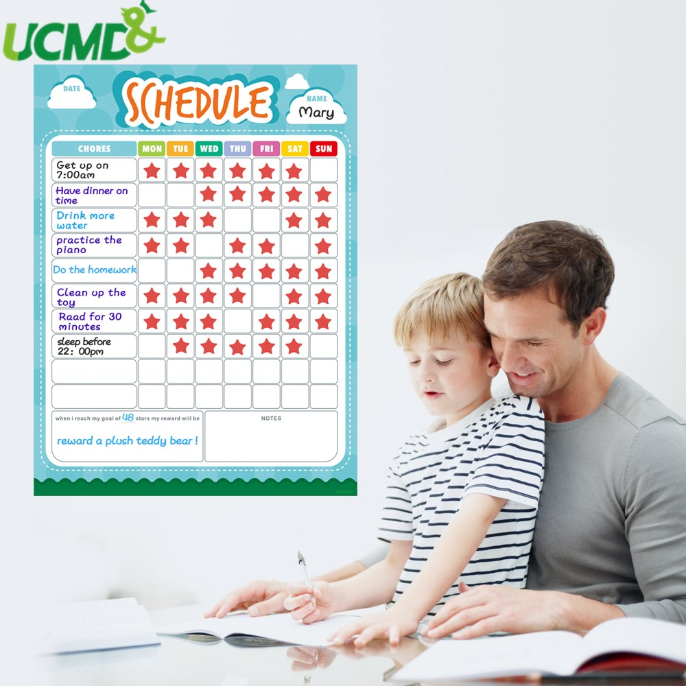 Magnetic Weekly Calendar Time Schedule Chore Chart To Do List Note Whiteboard Paper Kids Reward Chart For Refrigerator Sticker