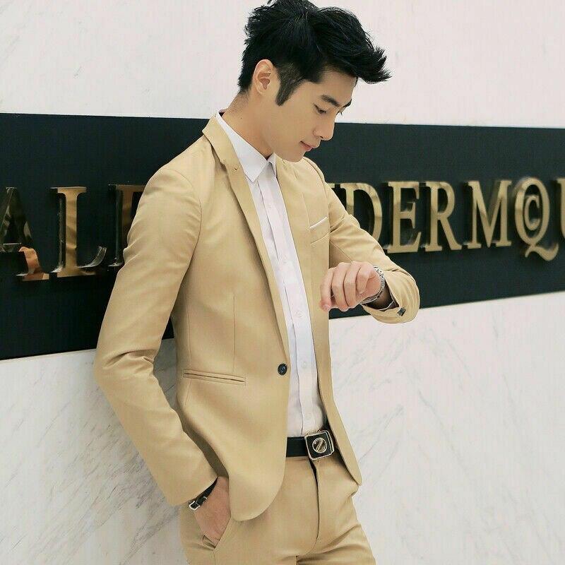 Fashion-fit Korean Men's Cotton Jacket Blazers Black Blue Plus Size M To 2XL Men's Blazers For Men Wedding Coat