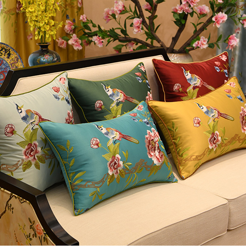 Oriental Chinese Style Colorful Peacock Flower Pillow Case Cushion Cover