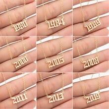 Personalize o número do ano colares para mulheres ano personalizado 1980 1989 2000 presente de aniversário de 1980 a 2021