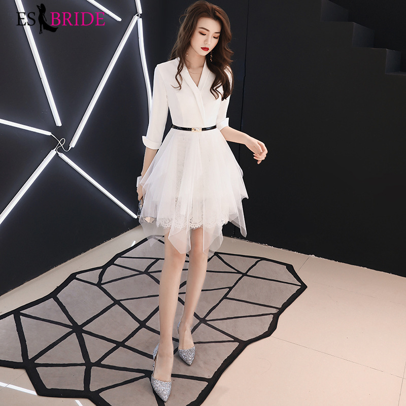 Long Small Suit Evening Gowns 2019 New A-Line White Casual Lace Dress Party Formal Dress For Women Elegant Robe De Soiree ES1919