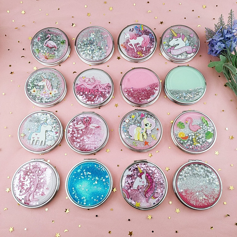 Mini Unicorn Makeup Mirror Compact Pocket Mirror Portable Double-Sided Folding Cosmetic Mirror Gifts With Flowing Sparkling Sand