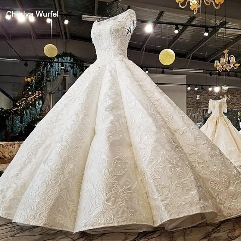 LS24750 2018 nouveau design original faisant robe de bal manches courtes à lacets trou de serrure dos O cou 100% réel spectacle de luxe robe de mariée