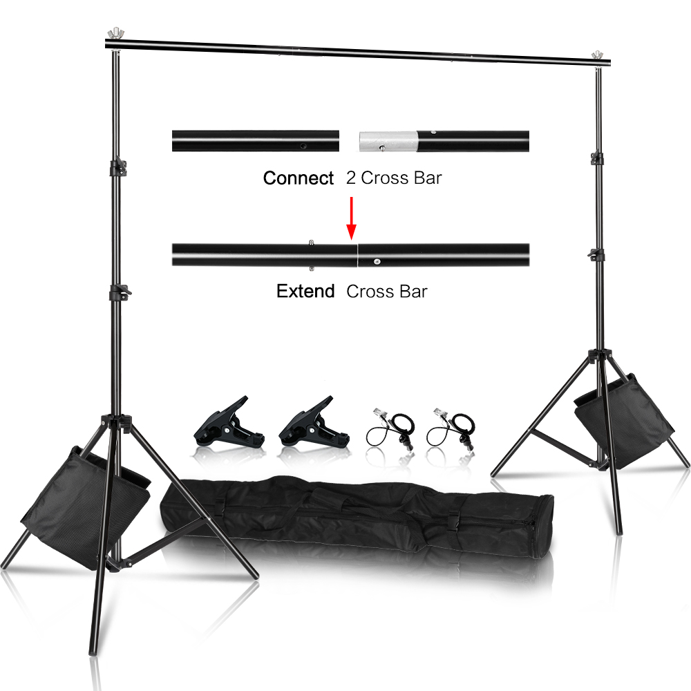 SH Photography Background Backdrop Stand Support Picture Canvas Frame System Kit With Carry Case For Muslin Photo Video Studio(China)