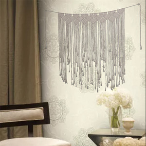 Image 3 - Boho Wedding Macrame Curtain Tapestry Cotton Handmade Wall Hanging Backdrop DIY Room Rustic Wedding Party Decoration DA