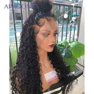 Image 2 - Transparent Lace Wig Curly 360 Lace Frontal Wig Pre Plucked With Baby Hair Brazilian Lace Front Human Hair Wigs Aimoonsa Remy