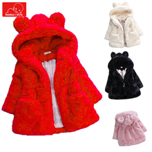 girls winter faux fur coat cute children hodded jacket warm kids overcoat fashion child  clothing outerwear стоимость
