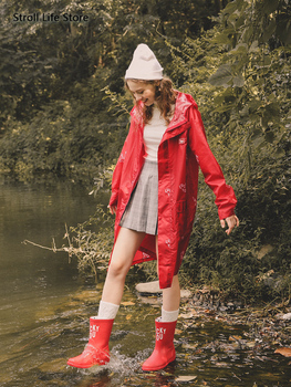 Women's Jacket Raincoat Adult Long Body Fashion Red Waterproof Rain Coat Clothing Poncho Waterproof Suit Capa De Chuva Gift