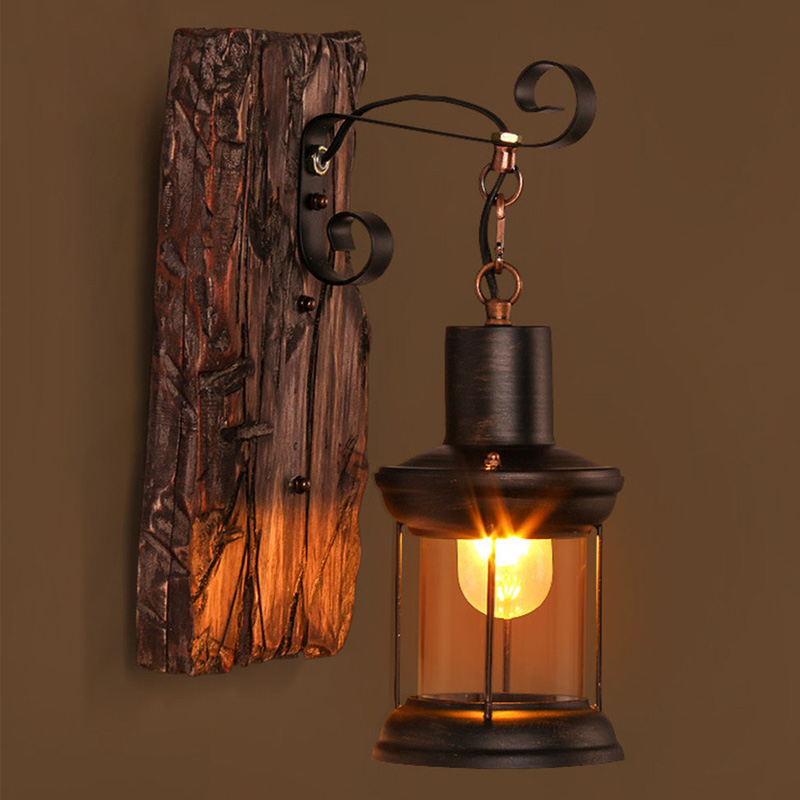 Antique Retro LED Loft Wall Lamp Outdoor Restaurant Cafe Bar Wall Sconce Vintage Industrial Wood Glass Wall Mounted Lighting