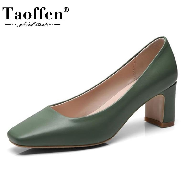 Taoffen 4 Color Women Square Toe Pumps Genuine Leather High Heels Shoes Women Hot Sale Office Work Party Pumps Size 33-40