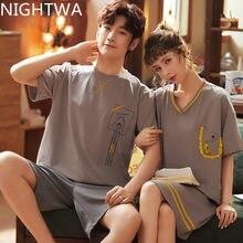 NIGHTWA New Couple Pajamas Cartoon Printing Homesuit Sleepwear Cotton Homeclothes Short Sleeve Cute Pajama Set Couple Casual