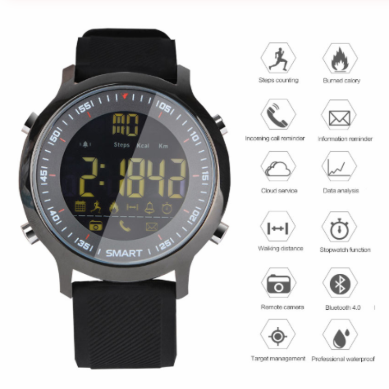 Bluetooth <font><b>Smart</b></font> <font><b>Watch</b></font> <font><b>EX18</b></font> Sport IP67 Waterproof Support Call and SMS Alert Pedometer Sports Activities Tracker Wrist <font><b>Watch</b></font> image