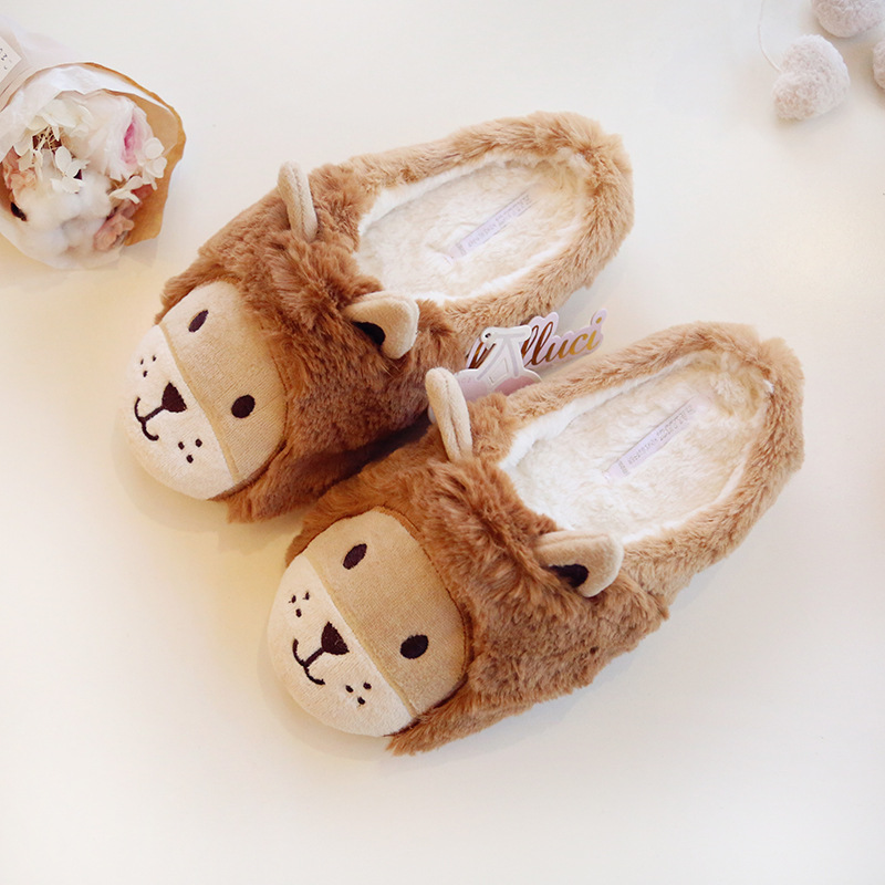 Halluci Autumn And Winter New Products Super Meng Lion Warm Home Slipper Cute Warm Couples Cotton Slippers