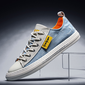 2020 New Denim Canvas Men Footwear Sky Blue Young Casual Shoes Anti-Slip Sneakers Jeans Fashion