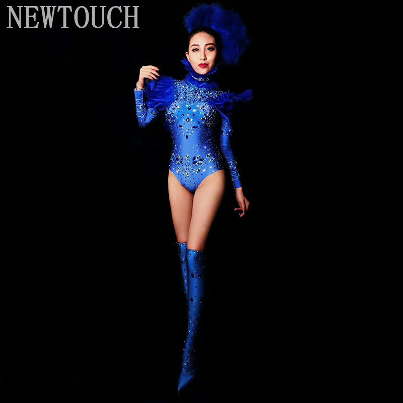 Rhinestones Feather Blue Dress Sexy Nightclub Full Stones Bodysuit  Long Sleeve  One-piece Dancer High Fork Stage Adult Costume