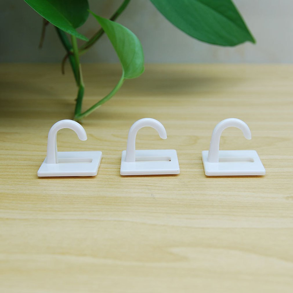 8pcs/set White Self Adhesive Plastic Square Hook Small Wall Mount Hanger Holder Hook For Home Kitchen Bathroom Drop Shipping