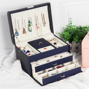 Image 5 - Шкатулка для ювелирных украшений, шкатулка для хранения ювелирных изделий из высококачественной кожи с 3 отделениями, 2020