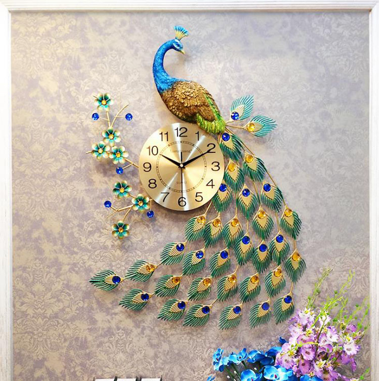 Luxury Crystal Peacock Wall Clock Modern Design 3D Clocks Wall Klok For Living Room Home Decor Wall Clock Wall Watches
